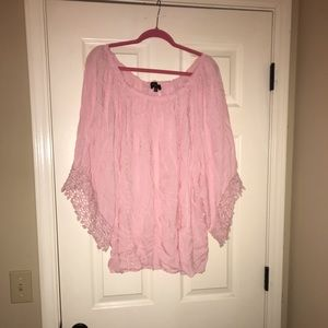 Pink blouse with lace